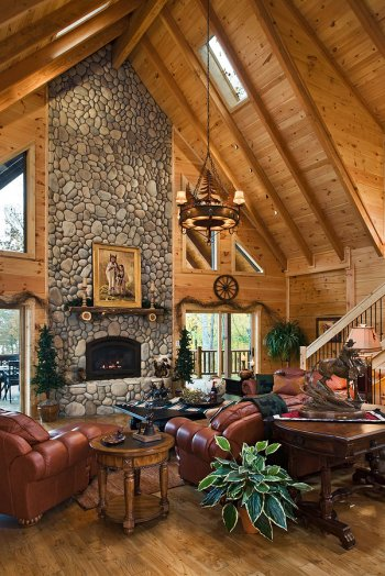Koser home greatroom fireplace log homes of america for Log home fireplaces