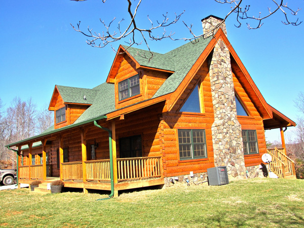 Exteriors log homes of america for Usa home builders