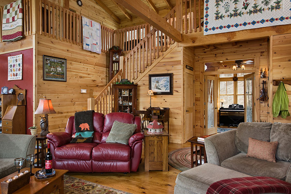 Log home great rooms log homes of america for Great american log homes