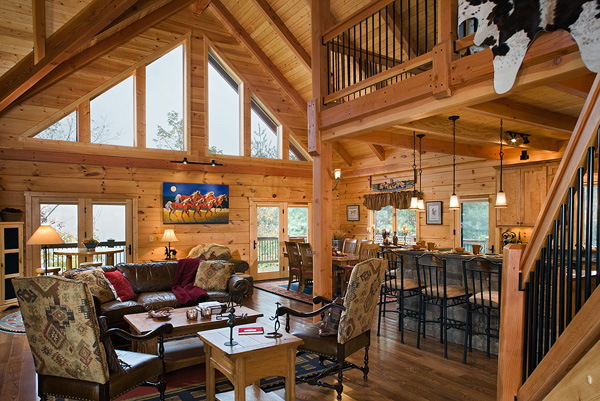 Great rooms log homes of america for Cottage plans with loft and big kitchen