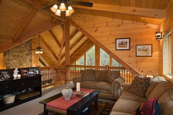 Lofts log homes of america for Log home with loft
